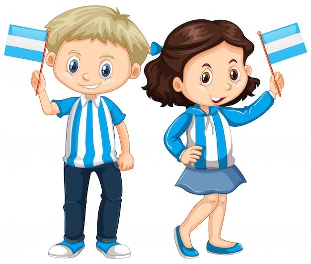 Niño Y Niña Tenencia Bandera Argentina Vector Premium