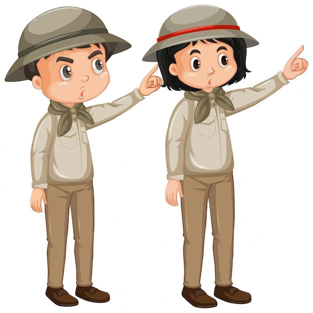 Niño y niña en traje de safari en blanco vector gratuito