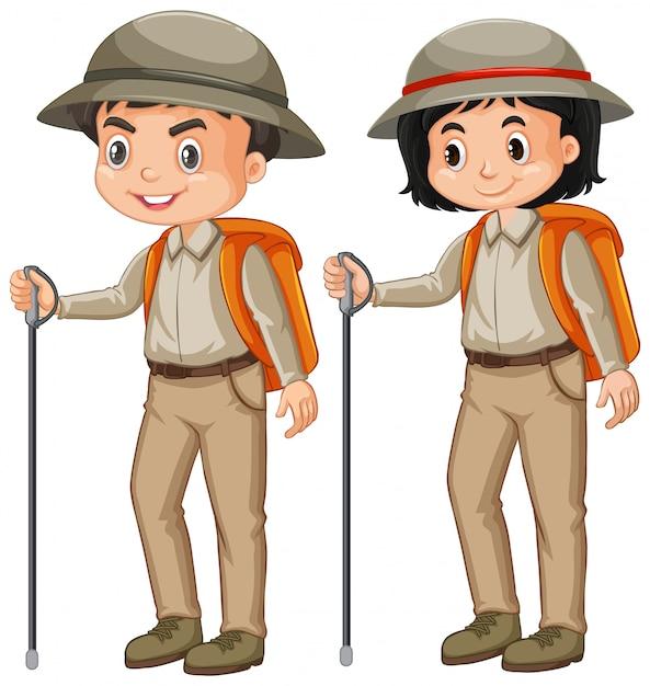 Niño y niña en traje de safari en blanco Vector Premium