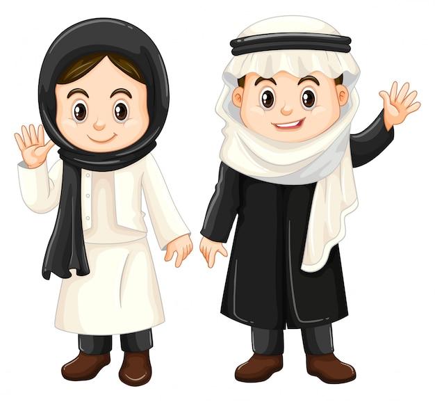 Niño y niña en trajes de kuwait vector gratuito