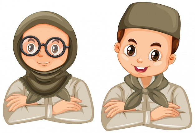 Niño y niña en uniforme de explorador en blanco vector gratuito