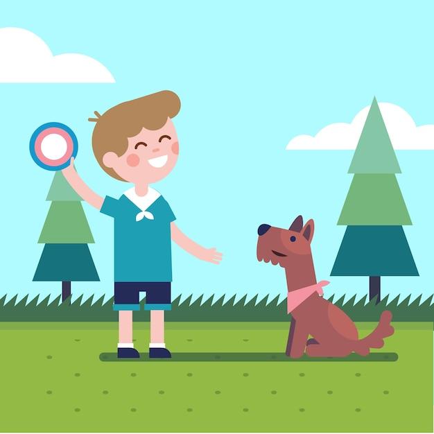 Niño, niño, juego, vuelo, disco, trow, atrapar, perro vector gratuito