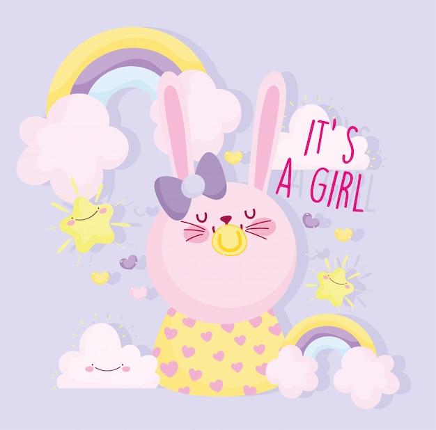 Niño o niña, el género revela que es una niña linda conejo con chupete tarjeta de decoración del arco iris Vector Premium