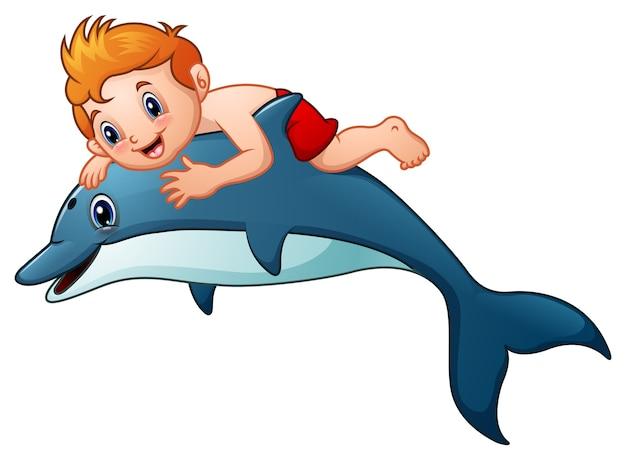 Niño Pequeño Dibujos Animados Montando Delfines Vector Premium