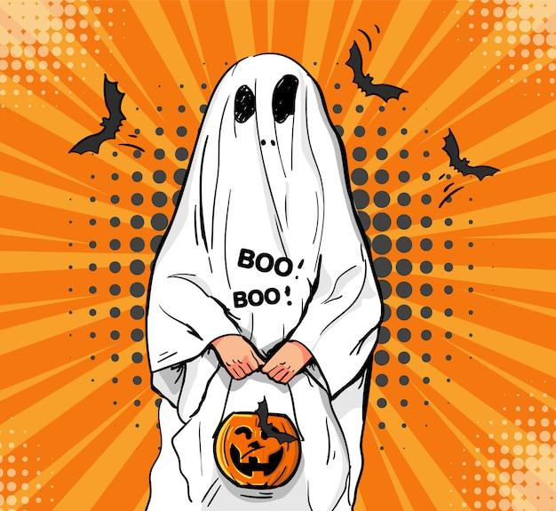 Niño pequeño en un disfraz de fantasma asusta. Vector Premium