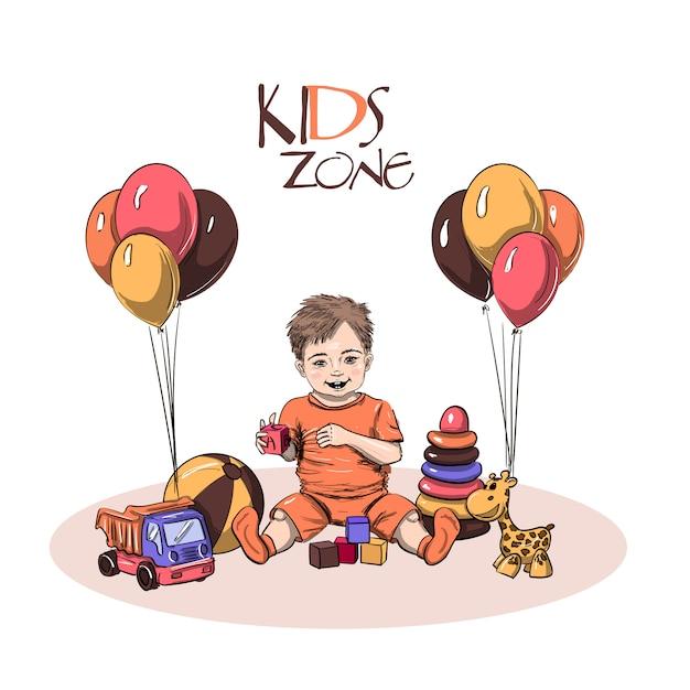 Niño pequeño sentado y jugando con juguetes Vector Premium