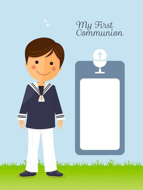 Niño de primera comunión en tarjeta vertical | Vector Premium