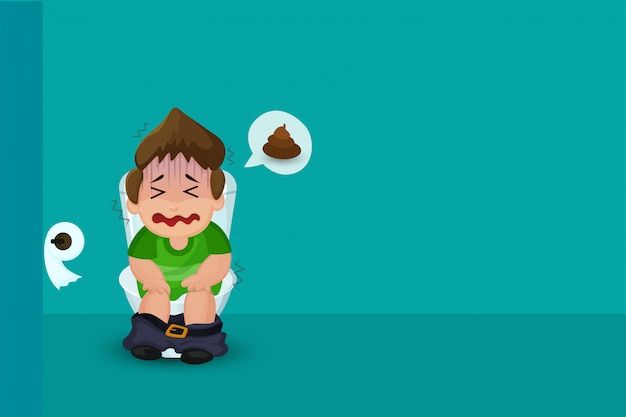 Niño que sufre de estreñimiento en el inodoro. Vector Premium