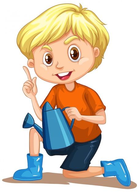 Niño con regadera en blanco vector gratuito