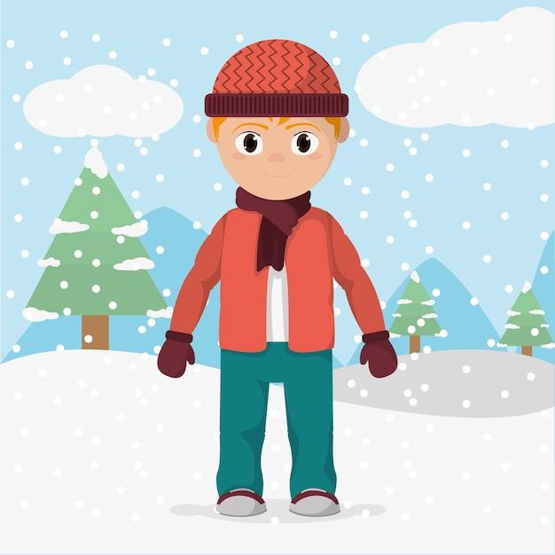23a3f14e6f57 Niño con ropa de invierno y clima frío   Descargar Vectores Premium