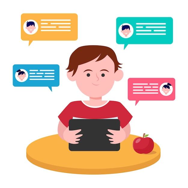 Niño sentado en la mesa y charlando con amigos vector gratuito