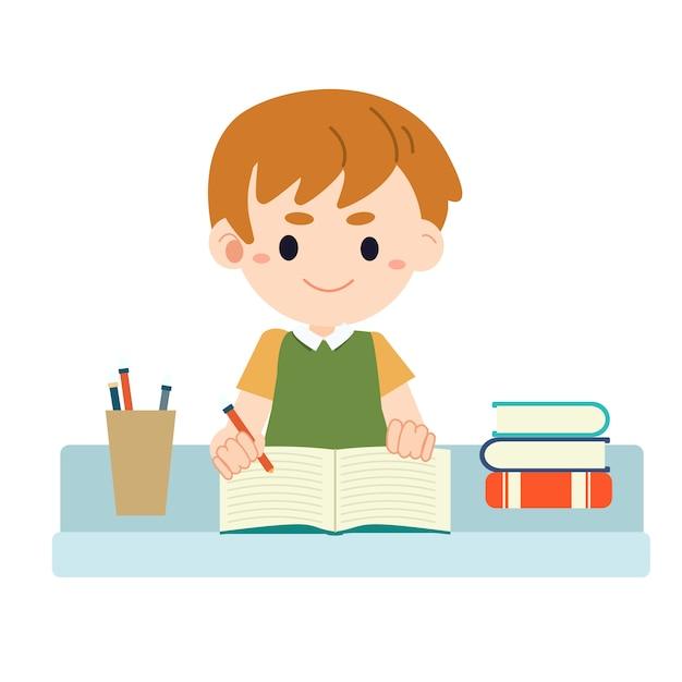Resultado de imagen de dibujos de niños haciendo los deberes