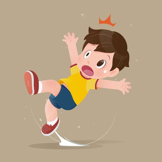 El niño siente shock porque se resbala en un charco en el suelo. Vector Premium