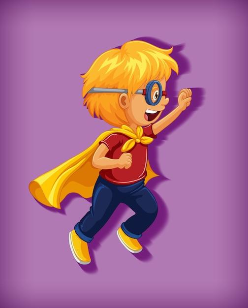 Niño con superhéroe con dominio absoluto en posición de pie retrato de personaje de dibujos animados aislado vector gratuito