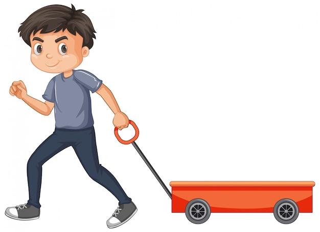Niño tirando carro rojo aislado vector gratuito