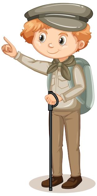 Niño en traje de safari sobre fondo blanco. vector gratuito