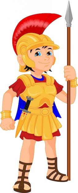 Niño con traje de soldado romano Vector Premium