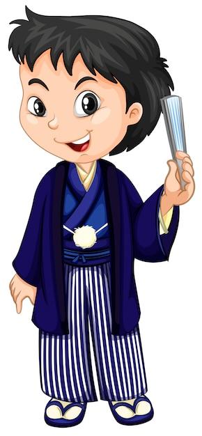 Un niño vestido con yukata tradicional japonesa. vector gratuito