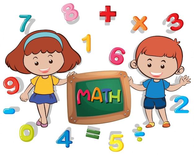 Niño Y Niña Con Muchos Números