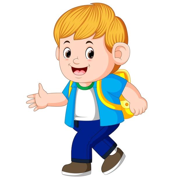 Niño Yendo A La Escuela Vector Premium