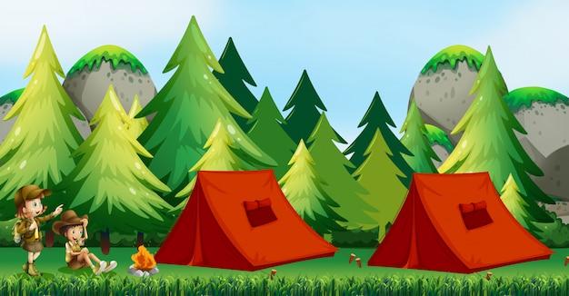 Niños acampando en la naturaleza. Vector Premium
