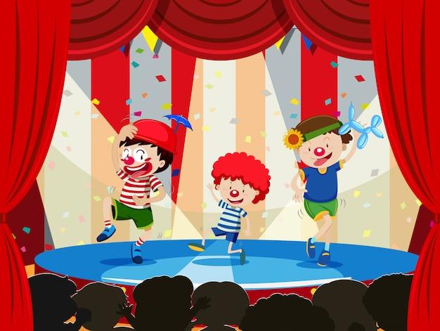 Niños actuando en el escenario Vector Premium