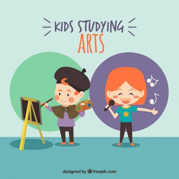 Niños agradables espinadas de artes Vector Premium