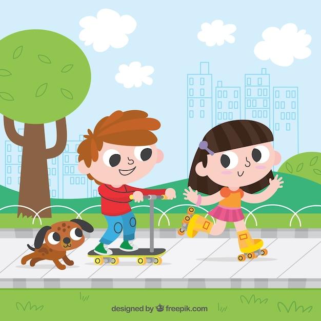 Niños alegres divirtiéndose al aire libre vector gratuito