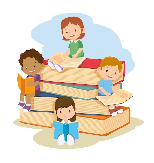 Niños aprendiendo y leyendo libros juntos Vector Premium