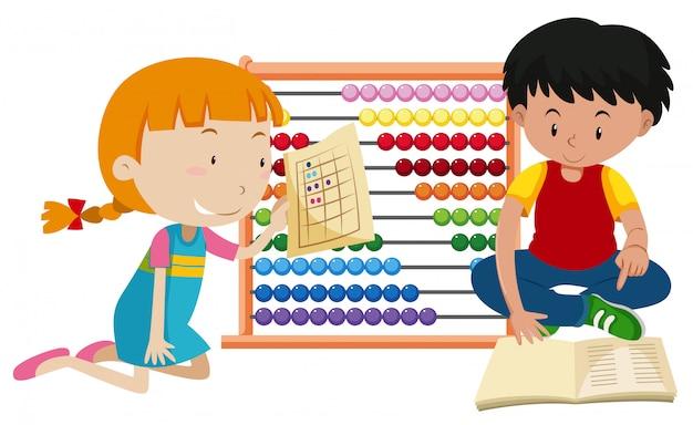 Niños aprendiendo matemáticas con ábaco   Descargar Vectores Premium