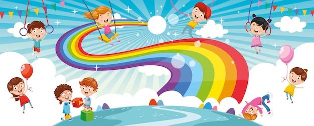 Niños del arco iris Vector Premium