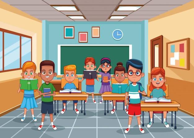 Niños en el aula Vector Premium
