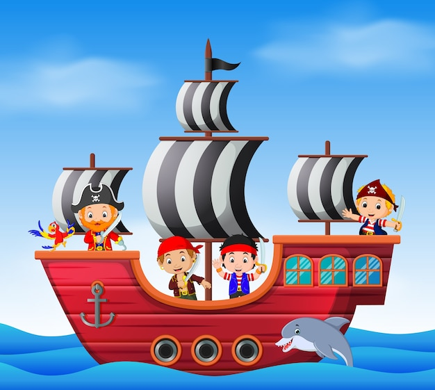 Ni os en barco pirata y escena del oc ano descargar - Imagenes de barcos infantiles ...