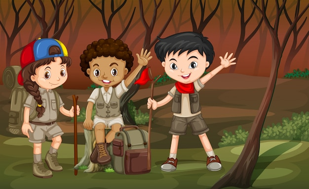 Niños caminando por el bosque. vector gratuito