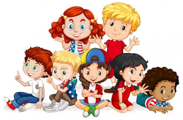Niños con cara feliz sentados juntos vector gratuito