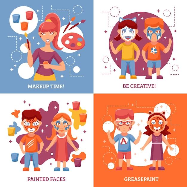 Niños con caras pintadas vector gratuito