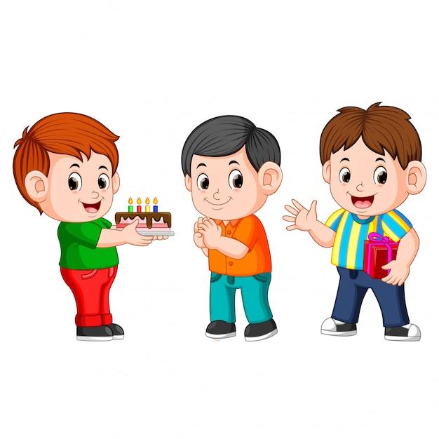 Niños celebrando una fiesta de cumpleaños Vector Premium