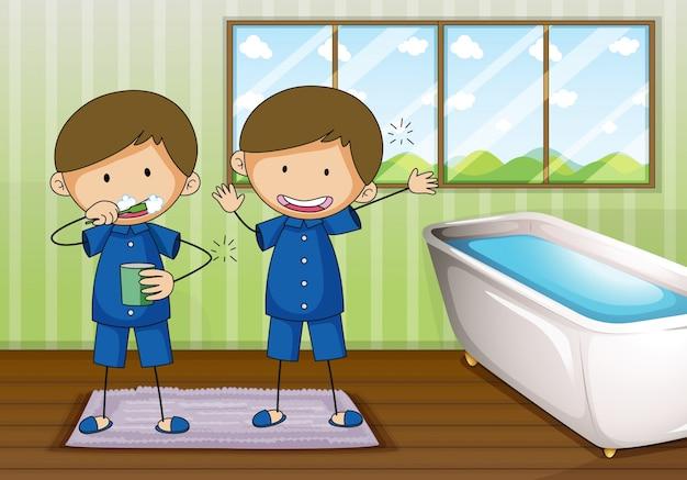 Niños cepillándose y limpiando en el baño | Descargar ...