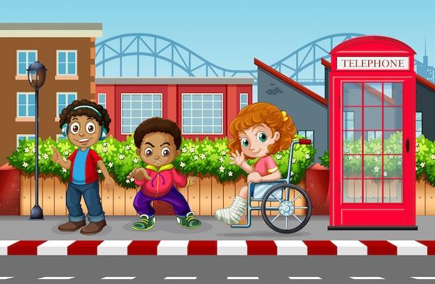 Niños en la ciudad urbana. vector gratuito