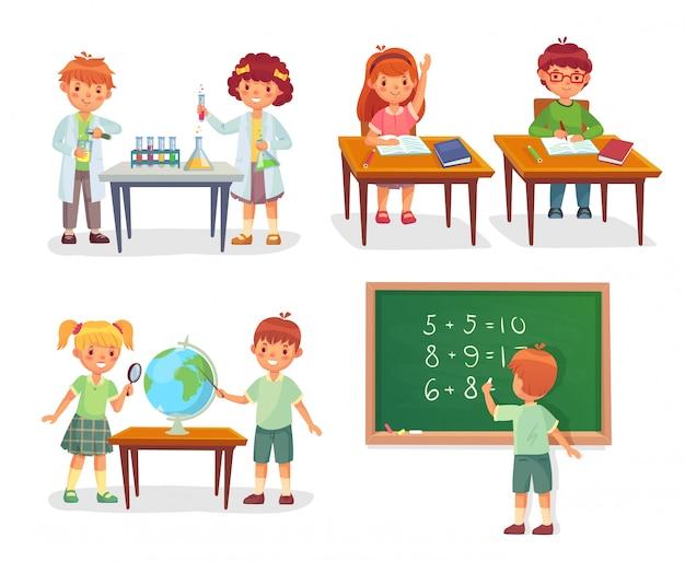 Niños en clase. alumnos en el laboratorio de química, aprenden geografía y  se sientan en el escritorio, conjunto de dibujos animados   Vector Premium