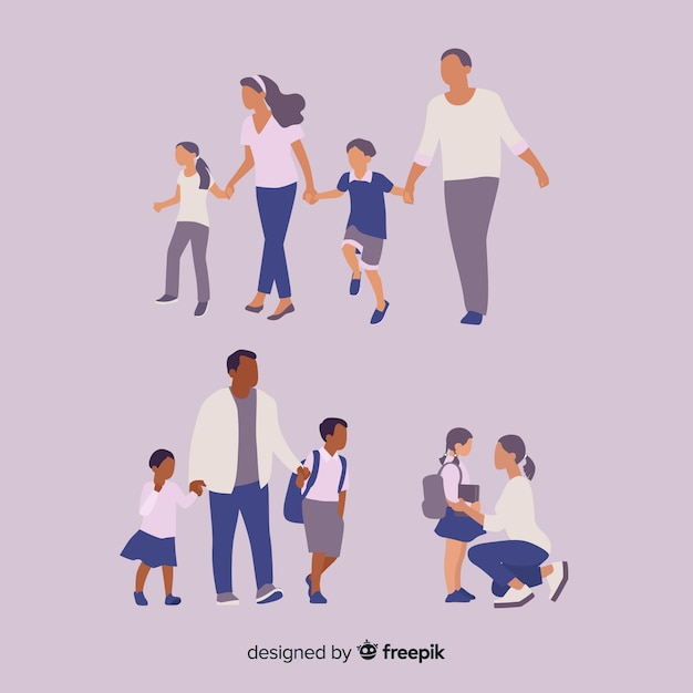 Niños de colegio con sus padres vector gratuito
