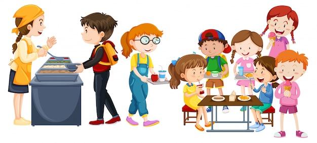 Niños comiendo en la cafetería. vector gratuito