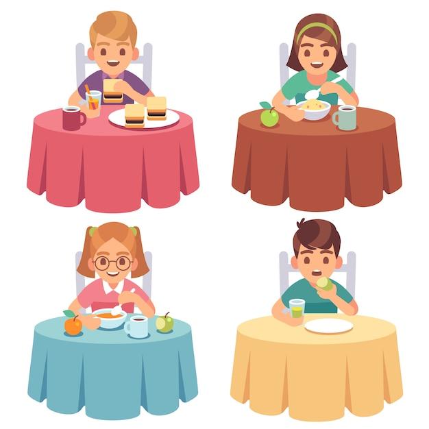 Niños Comiendo Los Niños Comen Mesa De Desayuno Para Niños Almuerzo Almuerzo Comida Rápida Comedor Niña Niño Personajes De Dibujos Animados Vector Premium