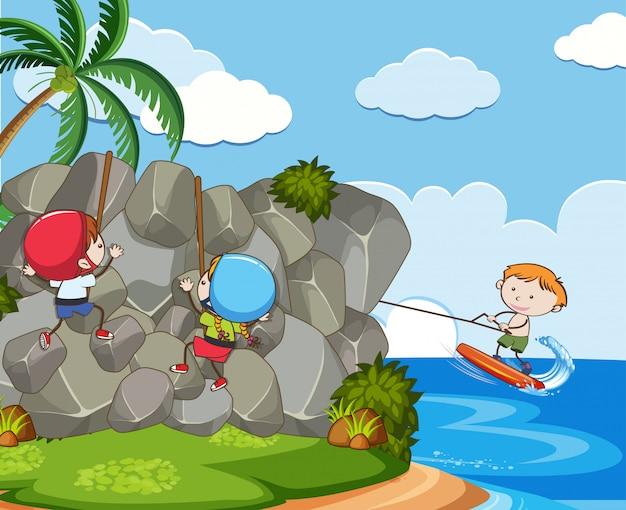 Niños con actividades extremas de verano | Descargar Vectores Premium