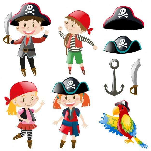 Niños con disfraces de pirata | Descargar Vectores gratis