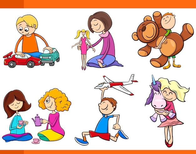Niños Con Juguetes Conjunto De Dibujos Animados