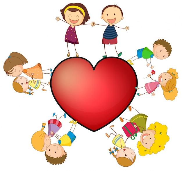 Vector Gratis | Niños y corazón
