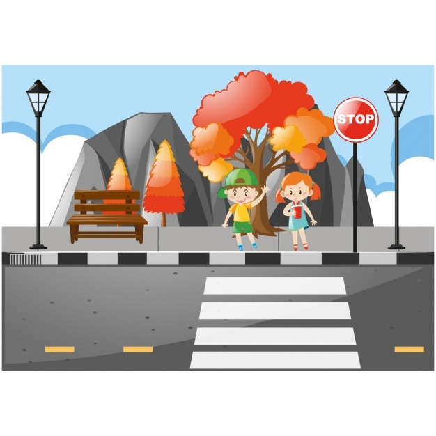 Niños cruzando la calle vector gratuito