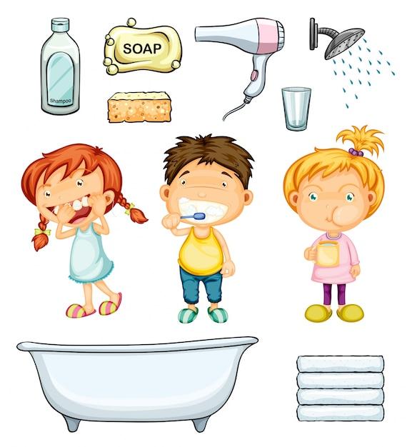 Niños, cuarto de baño, conjunto, ilustración | Descargar ...