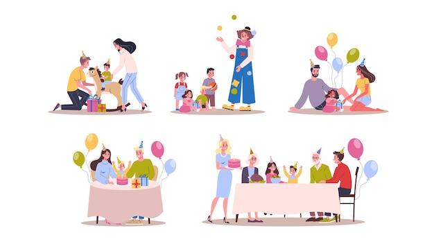 Niños en cumpleaños. fiesta infantil, tarta grande y dulce. decoración de cumpleaños. ilustración en estilo de dibujos animados Vector Premium